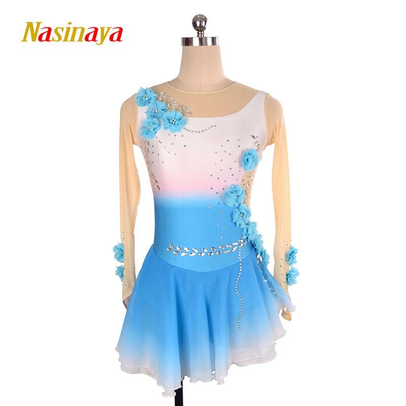 Nasinaya patinaje vestido personalizado competencia de patinaje sobre hielo falda para mujeres de la muchacha niños gradiente de Color flor rendimiento