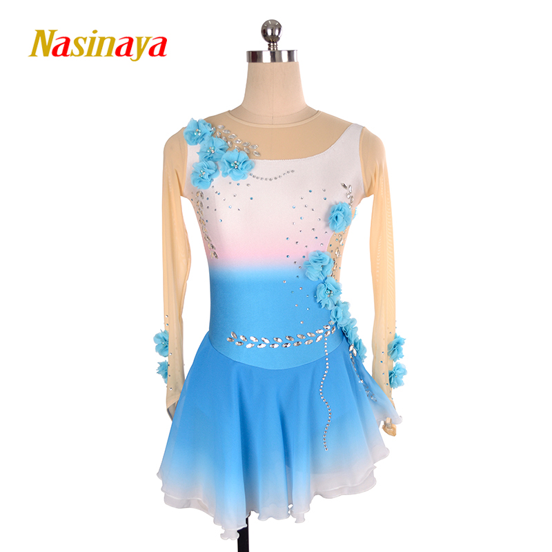 Nasinaya robe de patinage artistique concours personnalisé jupe de patinage sur glace pour fille femmes enfants dégradé couleur Performance fleur