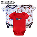 Retail 3 Pieces/lot Cartoon Style Baby Girl Boy 100%Cotton Clothes Newborn Body Baby Ropa Bebe Next Short Sleeve Baby Bodysuit
