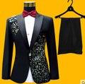 Костюмы страстный белый вышитые качества алмазов мужской производительность вечернее платье красный черный пром жених s