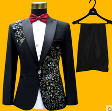 passionate white embroidered diamond quality male the performance formal dress suits red black prom groom s