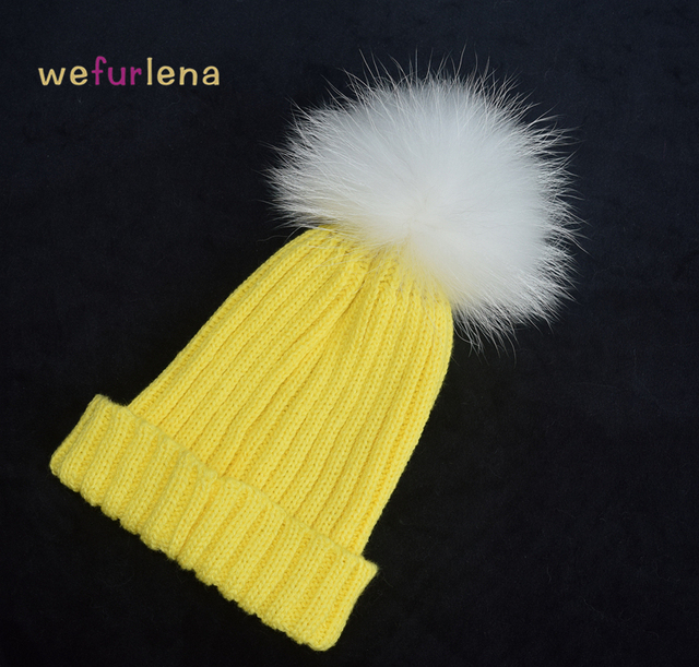 2016 Women Spring Winter Hats Beanies Knitted Cap Crochet Hat Raccoon Dog Fur Pompons Ear Protect Casual Cap Chapeu Feminino