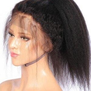 Image 5 - Parrucche per capelli umani anteriori in pizzo dritto crespo ALICE nodi sbiancati brasiliani senza capelli Remy Glueless 13*4 con capelli per bambini densità 130%