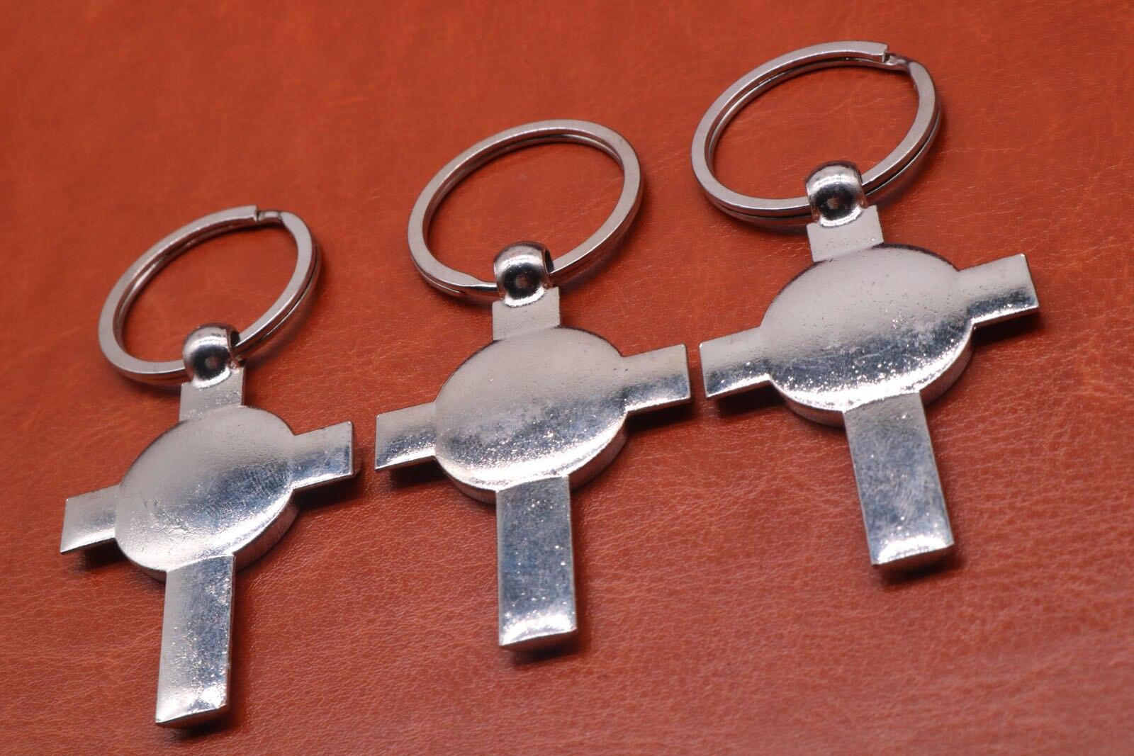 Religious cross key ring, virgin Marie key, Jesus Christ cross key spoon car accessories, free shipping.