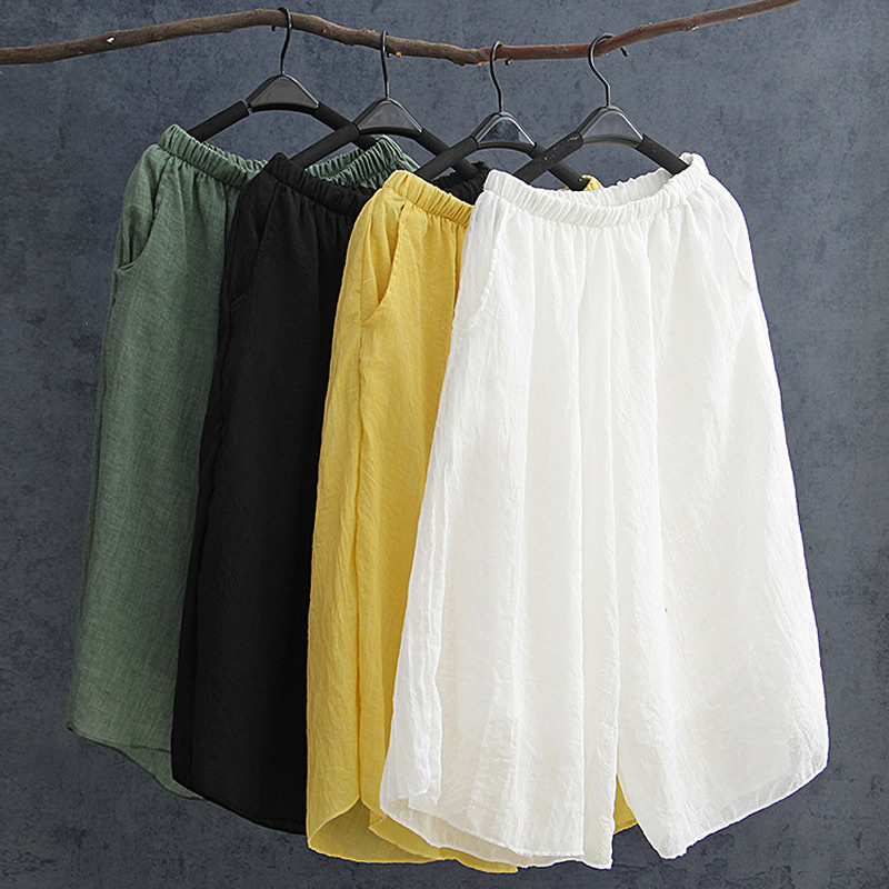 ORIGOODS Summer Wide leg   Pants   Women Solid Elastic waist Cotton   Pants     Capris   2 Layer Original design Cool Wide leg Trousers D066