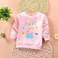 Новое! дети Весна одежда мальчики девочки унисекс футболка многоцветный топы розовая свинья дети футболки с длинным рукавом