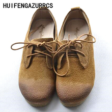 HUIFENGAZURRCS-Japanese Style Female Art RETRO Shoes, Old Round Leather Handmade Comfortable, Shallow Soft Bottom leisure shoes