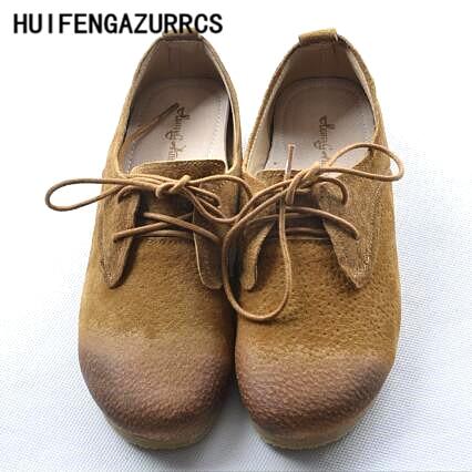 HUIFENGAZURRCS-Style japonais chaussures femme Art rétro, vieux rond en cuir fait à la main confortable, peu profonde fond souple chaussures de loisirs