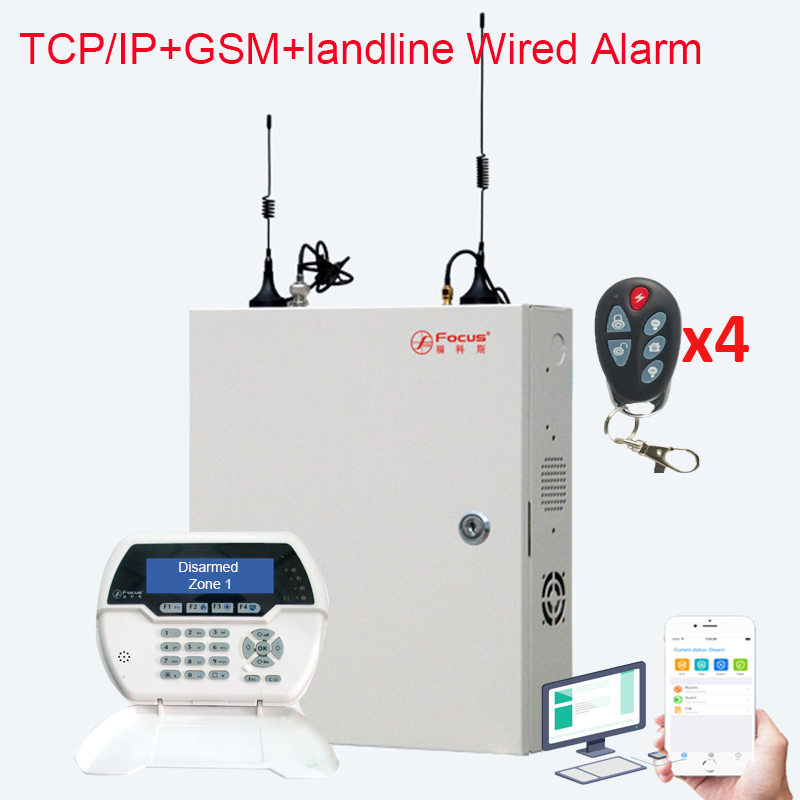 Фокус FC 7688 проводной и беспроводной TCP IP LAN Сетевой дом Охранная сигнализация 8 + 88 проводных зон охранный GSM 4G сигнализация