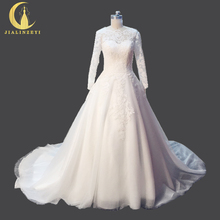 Rhine Real Sample Image Long Sleeves Boat Neck High Quality Lace A-line Court Train Bridal gown Wedding Dresses 2017