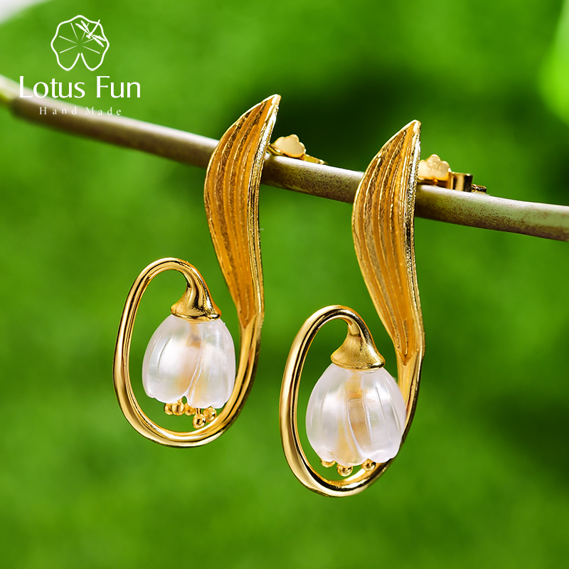 Lotus Fun Real 925 Sterling Silver Handmade Fine Jewelry Natural Crystal Gold Lily of the Valley Flower Drop Earrings for Women