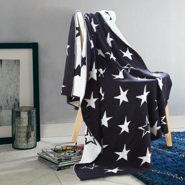 Free Shipping Novelty Gift Elegant Cotton Office Home Bedspread Knitted  Stars Pattern Throw Blanket Wrap Rug