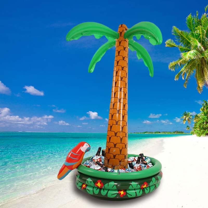 180CM Inflatable Coconut Palm Tree With Parrot Drinks Cooler Ice Bucket For Sand beach Party Decorations