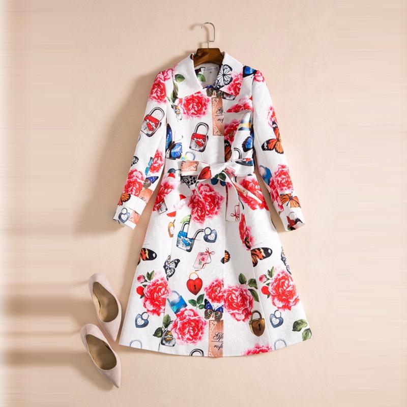Manches À Mode Turn Femmes Luxe Manteau Imprimer De Trench Longues Ceinture Col Avec down Clair Fleur AXRzv