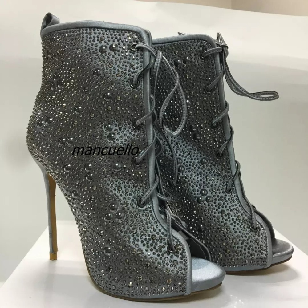 Gorgeous Silvery Women Bling-bling Crystal Stiletto Heel Ankle Boots Glittering Peep Toe Booties Lace Up Dress Sandals Hot Sell gorgeous silvery women bling bling crystal stiletto heel ankle boots glittering peep toe booties lace up dress sandals hot sell
