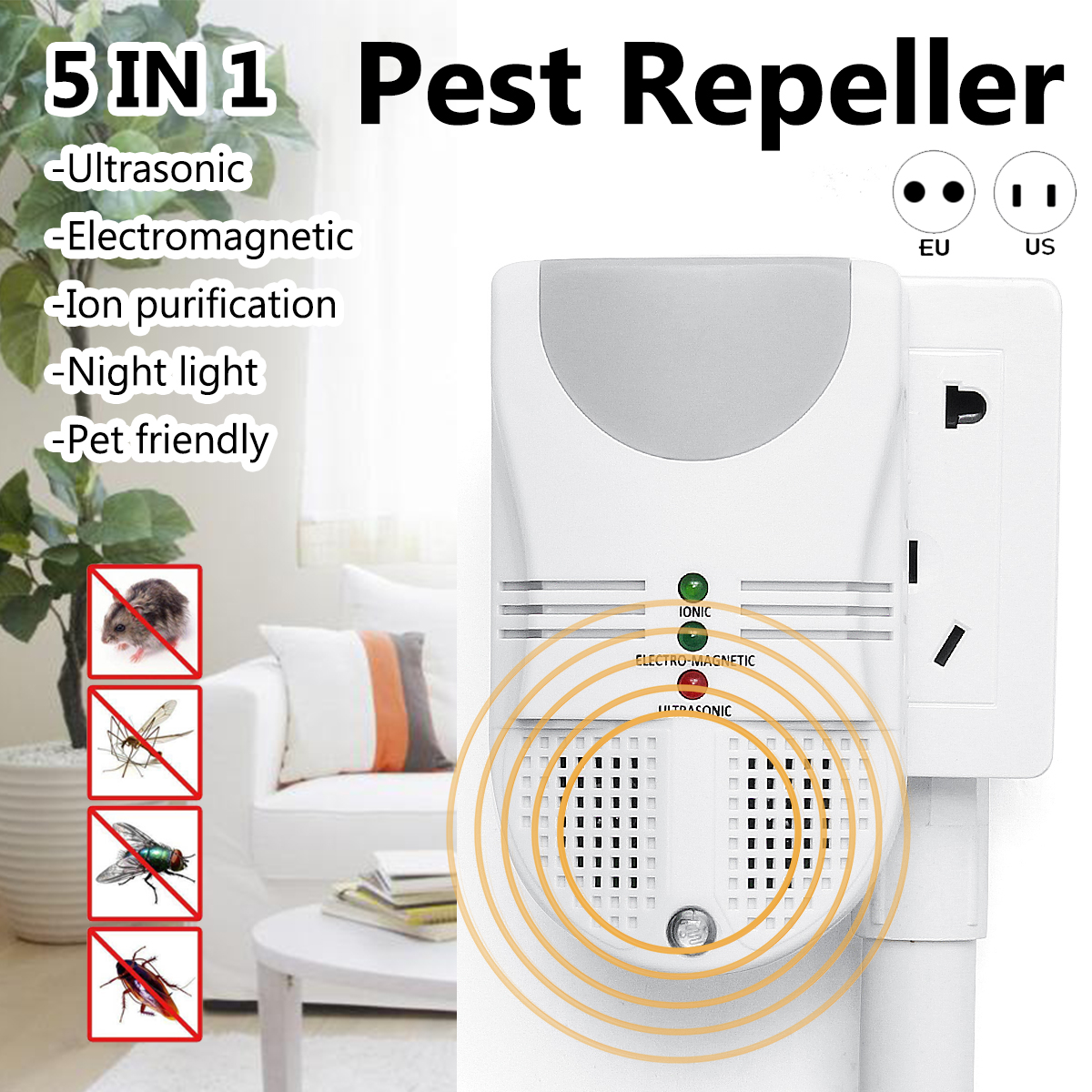 5 In1 Electronic Mosquito Killer Lamps Ultrasonic Pest Repeller Circuit Mouse Cockroach Rat Bug Rejet Insect Control Trap Night Light In From