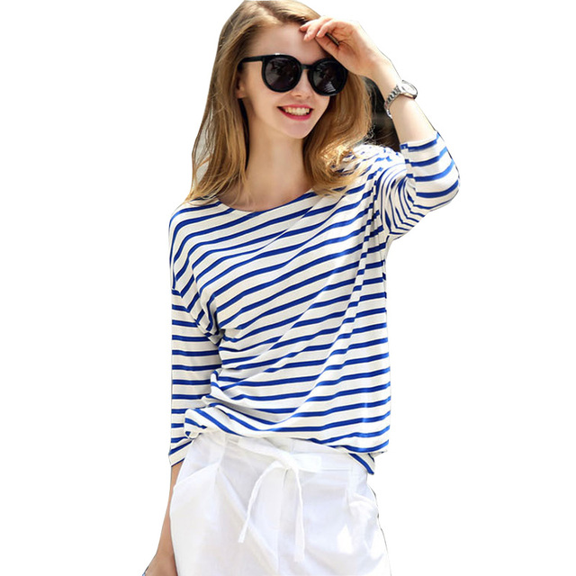 2017 Fashion Women's Ladies Misses 3/4 Sleeve Blue White Stripe Shirts Spring Casual Pullover Loose T Shirt Tops Size S-XXL