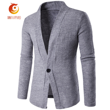 2017 New Men's Fashion Single-Button Sweater Gentleman Brown V-Neck Knitted Cardigan Sweater Men Gray England Style Cardigans