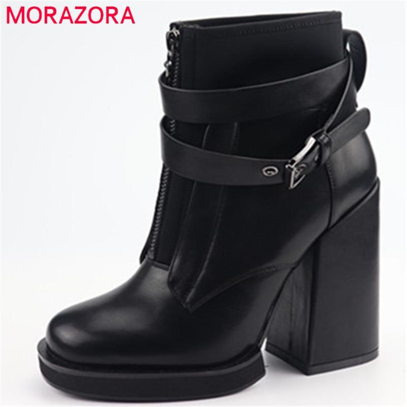 Automne forme Talons Hiver Noir Nouvelle Cheville Femmes Morazora 2019 Boucle Arrivée Top Zip Bottes Hauts Femme Qualité Chaussures Plate kXZPilOTwu