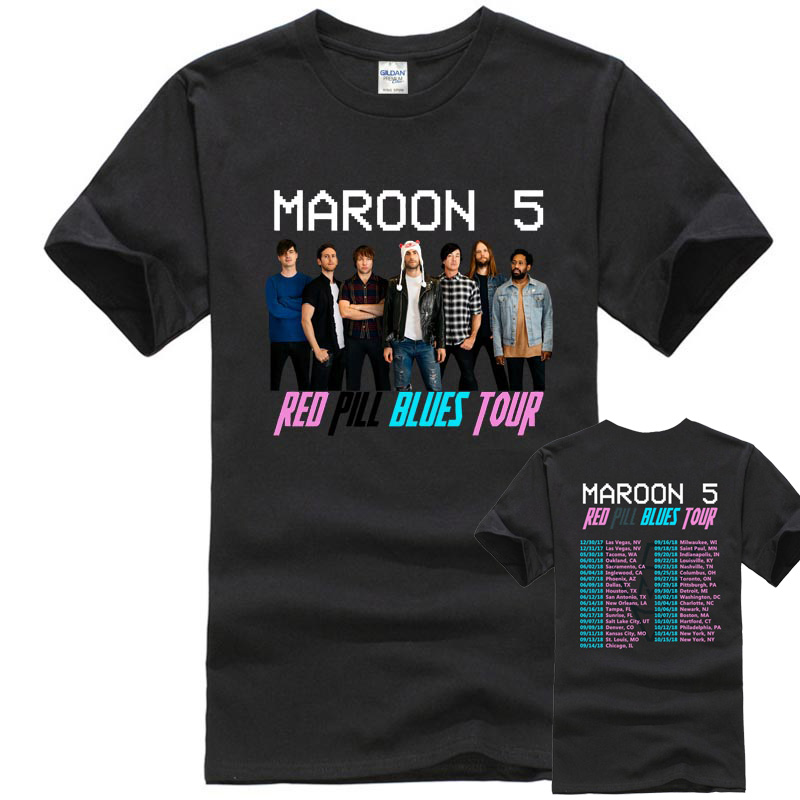 Shirt   Designer Short Sleeve Fashion Maroon 5 Tour Crew Neck Mens   T     Shirts   Casual   T  -  Shirt   Male Short Sleeve Pattern Short Sleeve