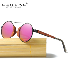 EZREAL New Women Wooden Polarized Round Sun Glasses Brand Designer Sunglasses By Handmade EZ045-M
