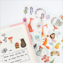 6pcs/lot kawaii forest animals children Paper diy  Decorative Sticker Diary Album Label Scrapbooking Stationer