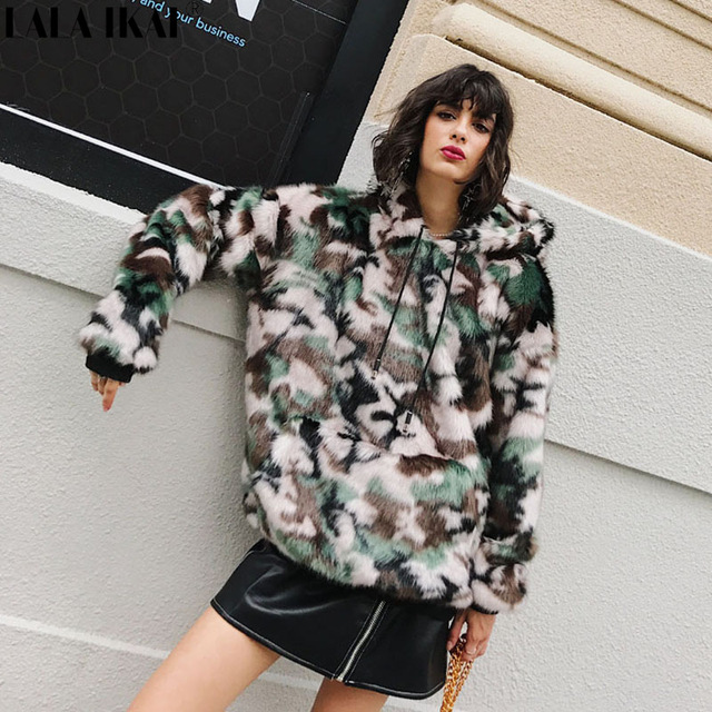 8e13da553ecc LALA IKAI High Street Fashion Camouflage Fur Coats Winter Faux Fur Coat  Warm Fur Jacket Pockets
