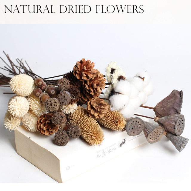 DIY Craft Accessories Dried Flowers Lotus Cotton Floral Preserved Flower Decorative Florals Branch Rustic Wedding Party Decor