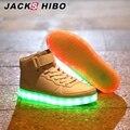 Jackshibo 2016 7 colores led luminoso luz unisex cargadores usb recargable llevó la luz de Zapatos de moda mujer botas de gran tamaño grande 5-10