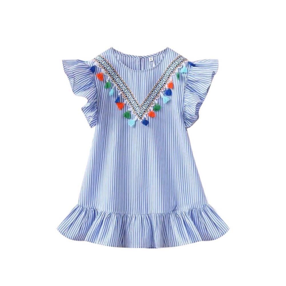 Lato latający rękawem dziewczyny Tassel sukienki w paski z bawełny słodkie dzieci Party sukienki dla dzieci dziewczyny księżniczka sukienka topy ubrania