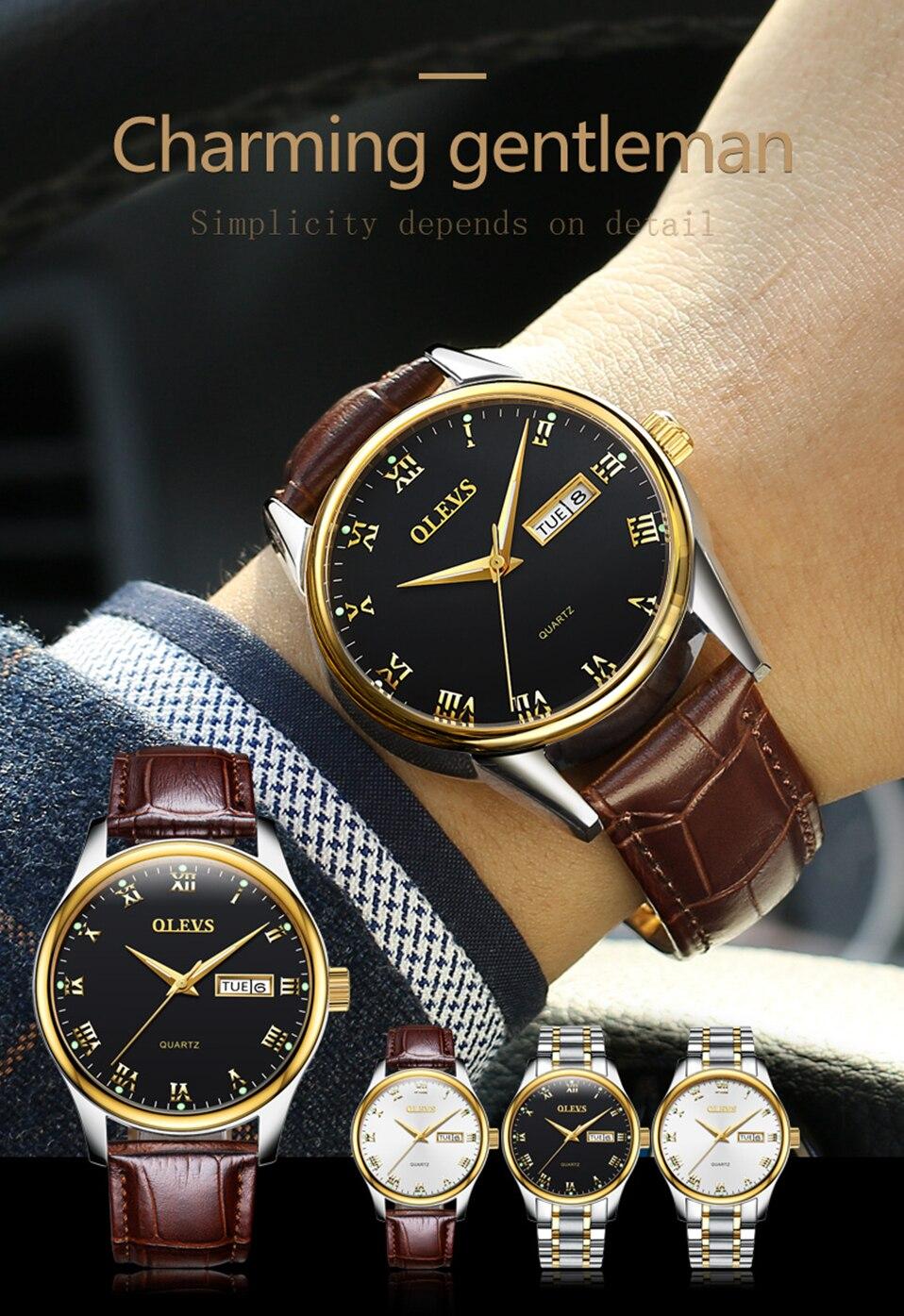 OLEVS casal relógios para amantes das Mulheres
