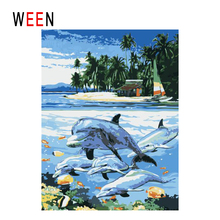 WEEN Island Diy Painting By Numbers Abstract Dolphin Swim Oil On Canvas Cuadros Decoracion Acrylic Wall Art Home Decor