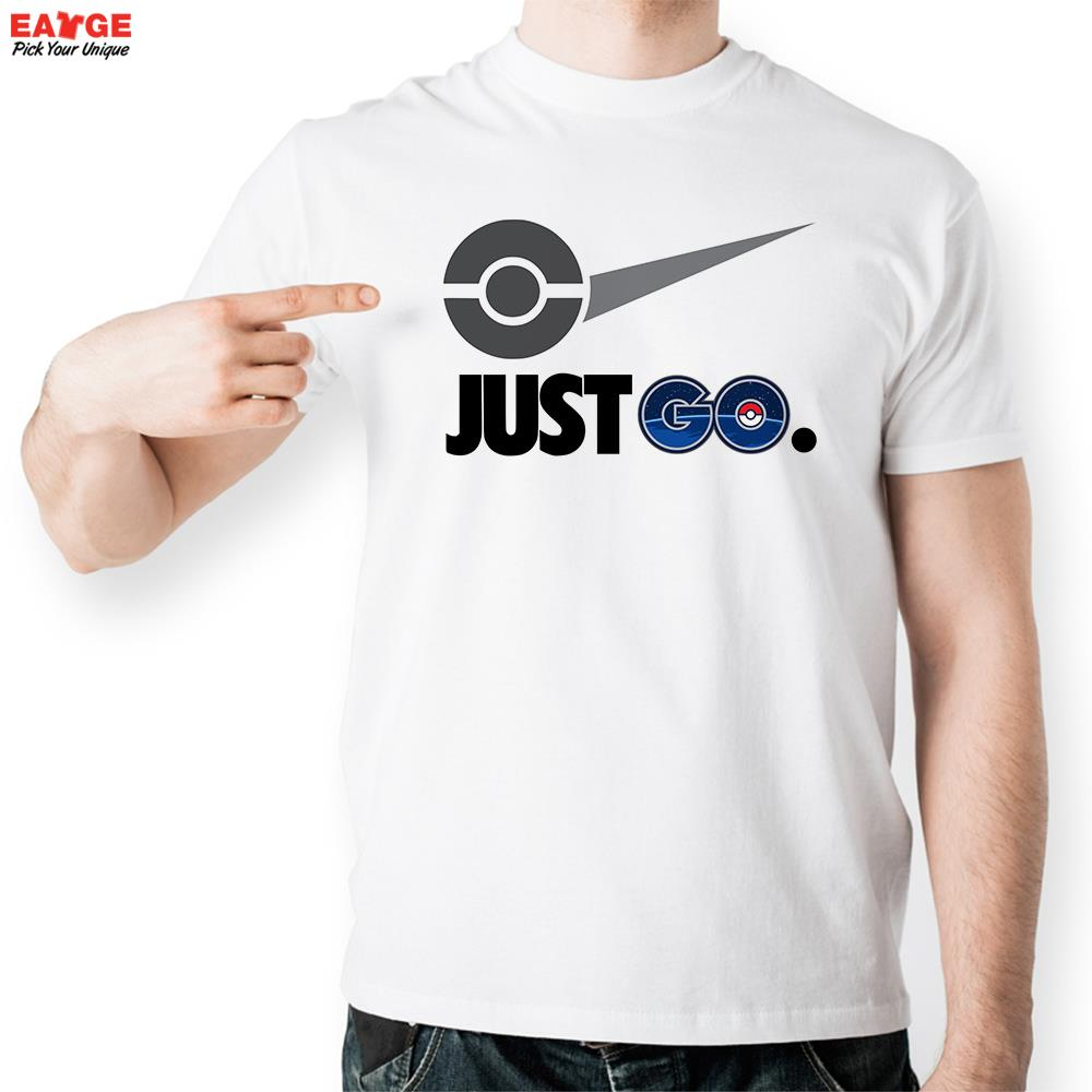Design t shirt brand - Aliexpress Com Buy Just Pokemon Go T Shirt Parody Famous Logo Funny Design T Shirt Unisex Printed Top Tee Cool Fashion Novelty Style Tshirt From Reliable
