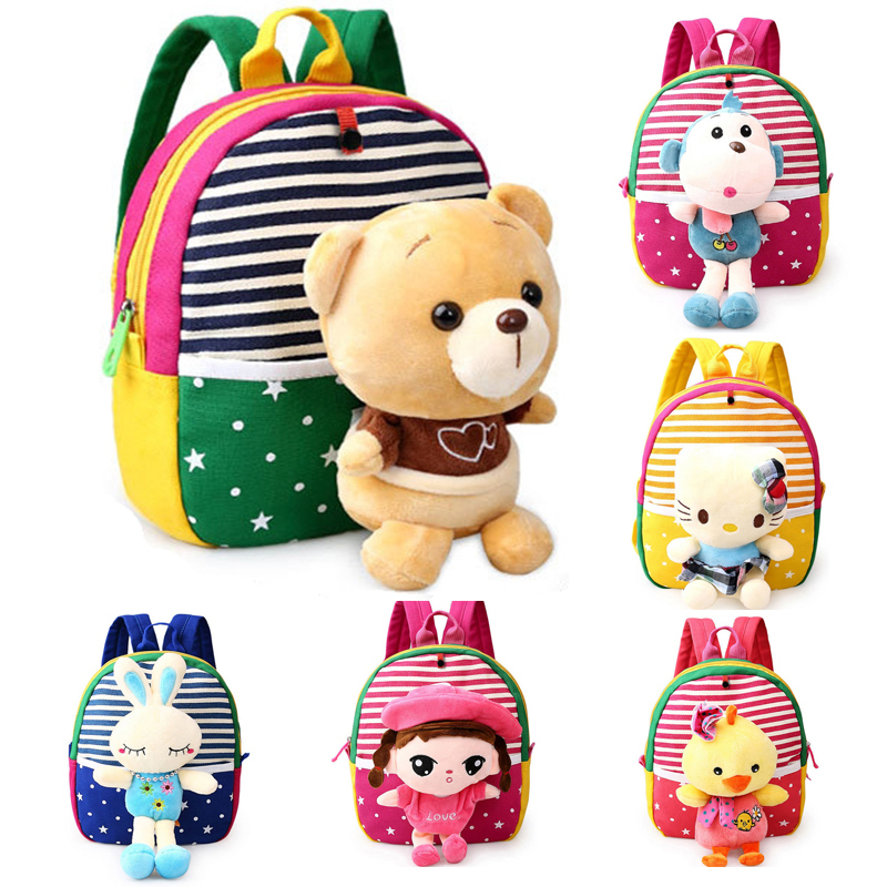 Baby Back Pack Toddler Kids Backpacks Kindergarten School Bag Cute Animal Plush Cartoon Schoolbag Girls Boys Hello Kitty Toys doubchow adults womens mens teenages kids boys girls cartoon animal hats cute brown bear plush winter warm cap with paws gloves page 7