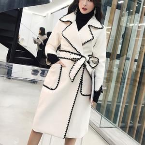 Image 1 - LANMREM Solid Color Wavy Pattern Large Pockets Belt Woolen Coat Casual Fashion Loose Plus Woman 2020 Autumn Winter New TC981