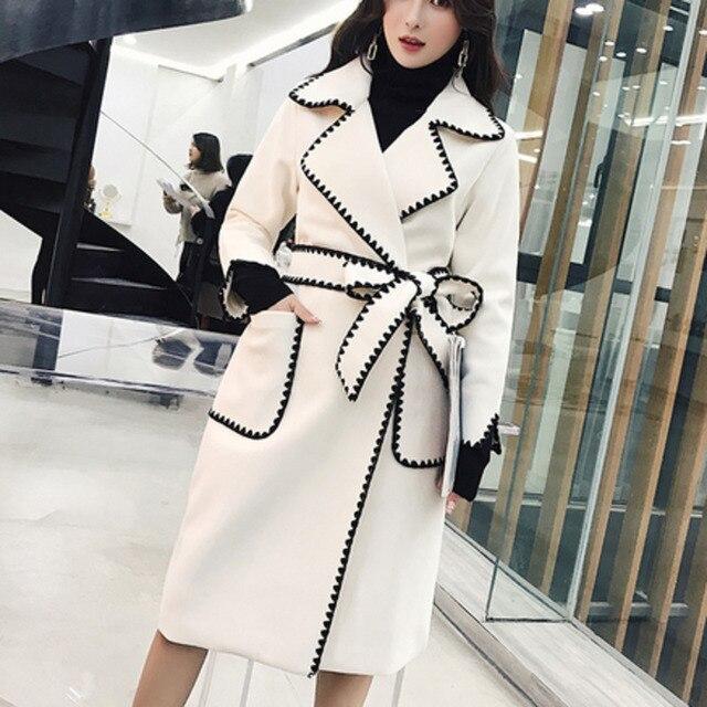 LANMREM Solid Color Wavy Pattern Large Pockets Belt Woolen Coat Casual Fashion Loose Plus Woman 2020 Autumn Winter New TC981