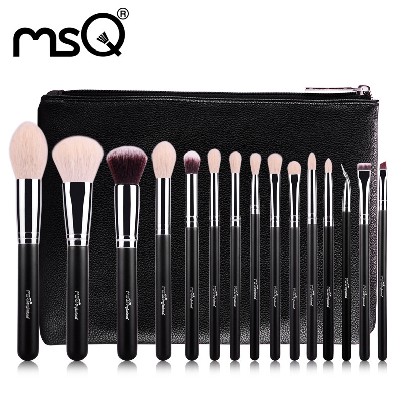 ФОТО 15pcs Professional Makeup Brushes Set Make Up Brushes High Quality pincel maquiagem With PU Leather Case For Beauty maquiagem