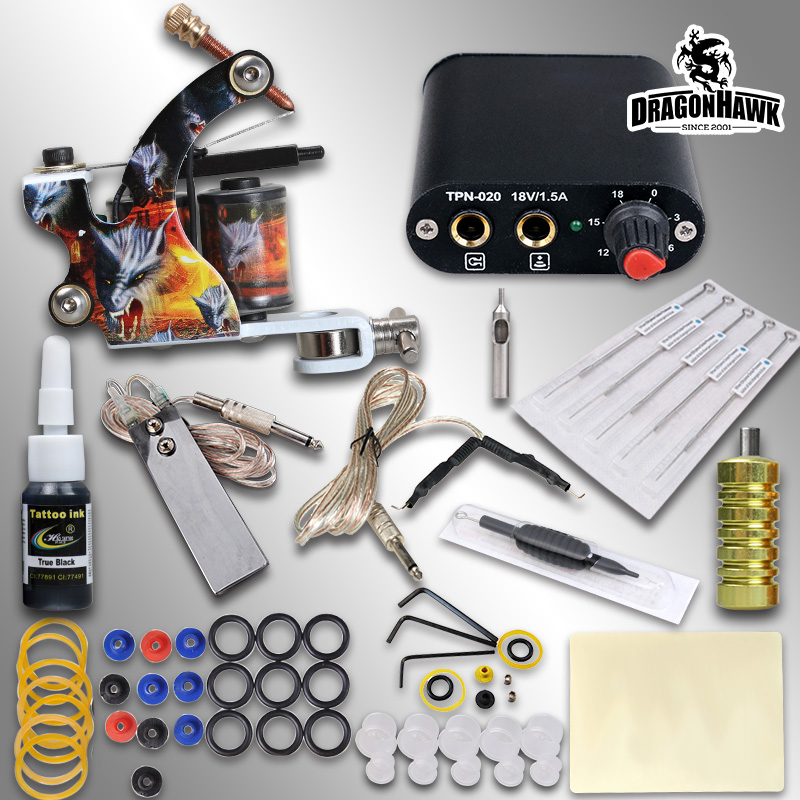 Beginner Complete Tattoo Kit Machine Guns Inks Needles Tattoo Power Supply beginner tattoo kit 1 machine gun 4 inks needles tattoo power supply d1025gd 2