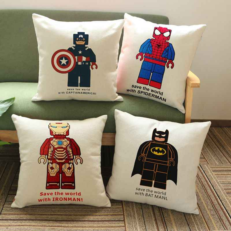 Wholesale 100% New Linen Cotton Robot Superhero Cushion Cover Pillow On Sofa For Home Decoration