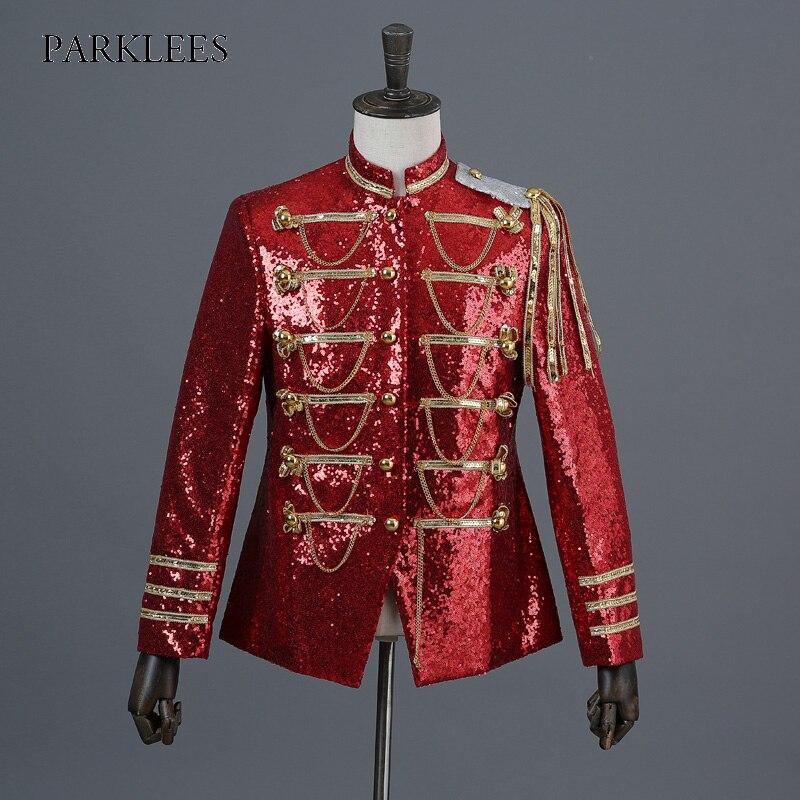 Blazer Jacket Glitter-Suit Military-Dress Slim-Fit Sequin Casual Stage-Singer Nightclub