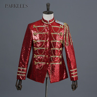 Shiny Military Dress Blazer Jacket Men 2018 Casual Slim Fit Sequin Glitter Suit Men Cool Nightclub DJ Stage Singer Blazers Homme