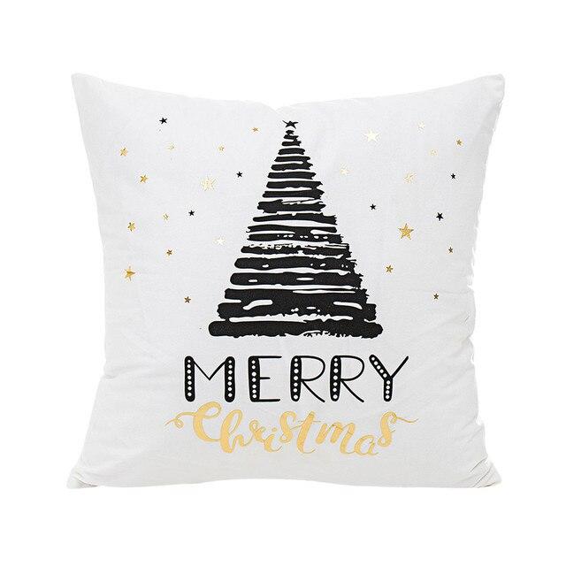 Brązujący Boże Narodzenie Obicia Złoty Wydrukowano Pokrywa Poduszki Dekoracyjne Poszewka Na Poduszkę Sofa Samochodów Seat Poszewka 2018 New Y20 W