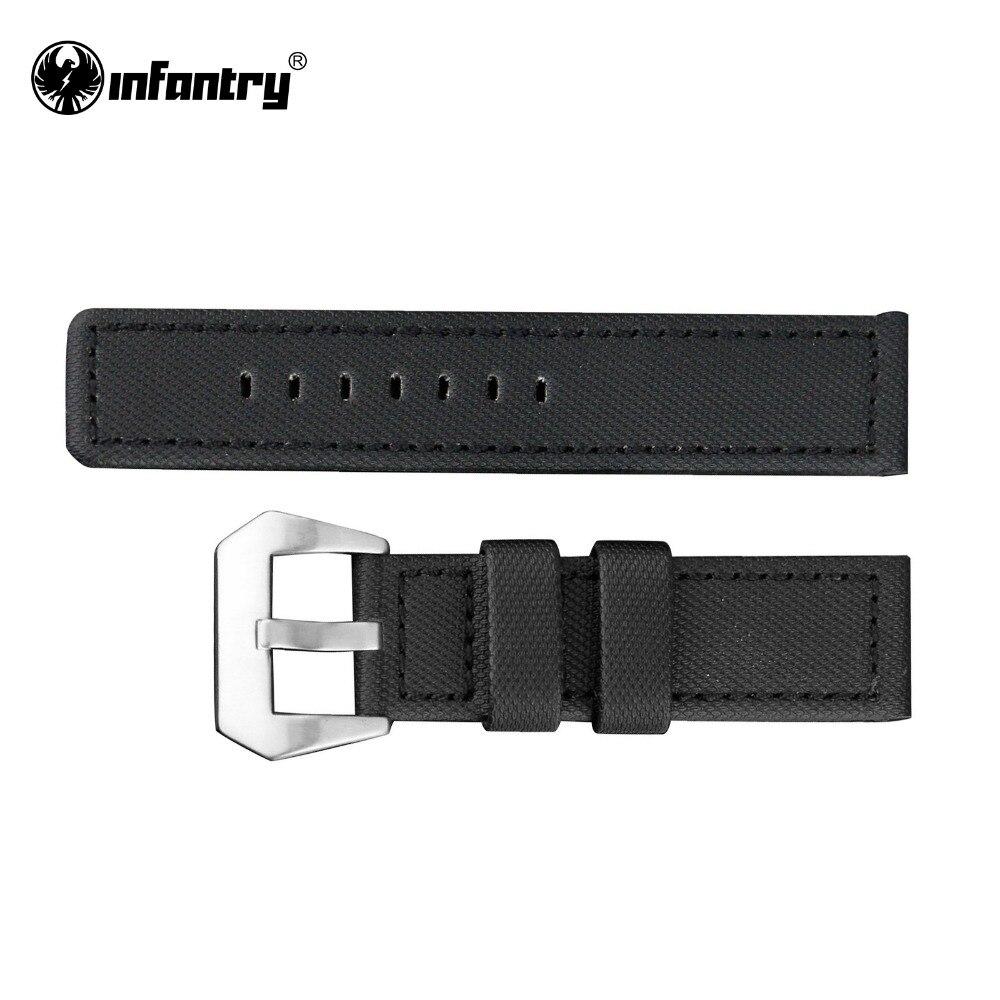 Prix pour D'infanterie 22 MM Montre Bracelet Duty Nylon Durable Noir Bracelets En Plein Air Montre-Bracelet Bretelles Bandes
