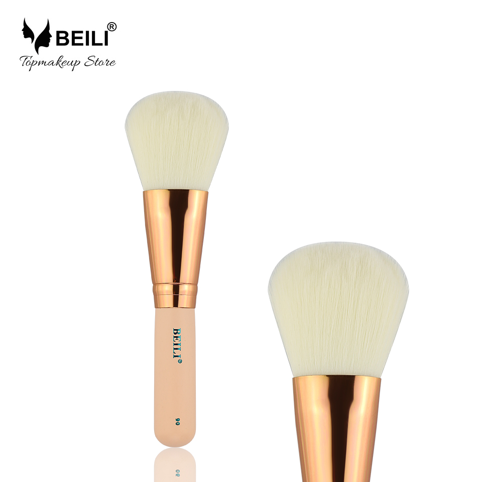 BEILI 90# Rose Golden Ferrule Soft Synthetic Big Powder Blusher Makeup Brush Short Handle