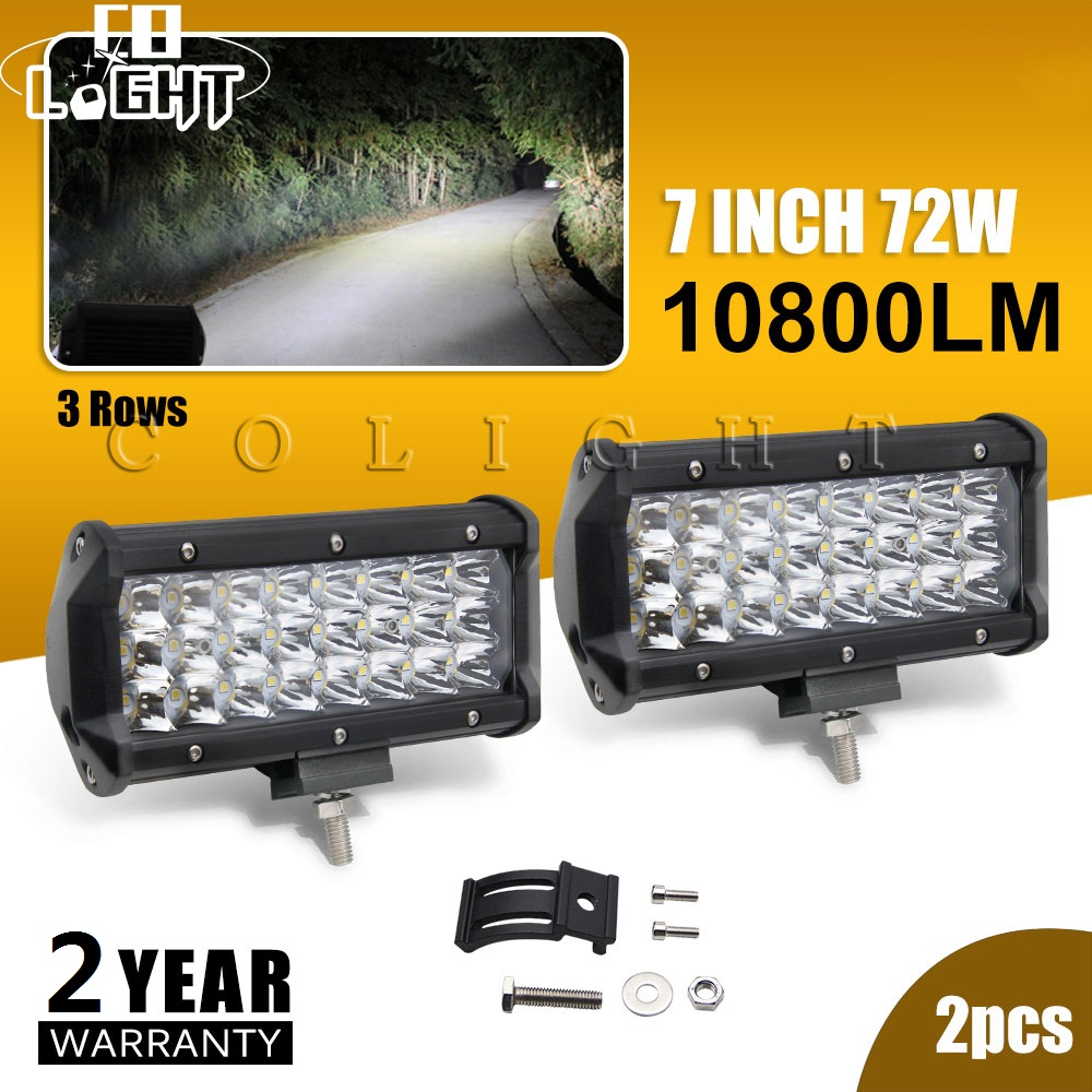 Es La luz 2 piezas diodo emisor de luz 72 W 7 pulgadas luces Led luces de trabajo para Auto 4X4 granja minera 12 V 24 V Lada Kamaz