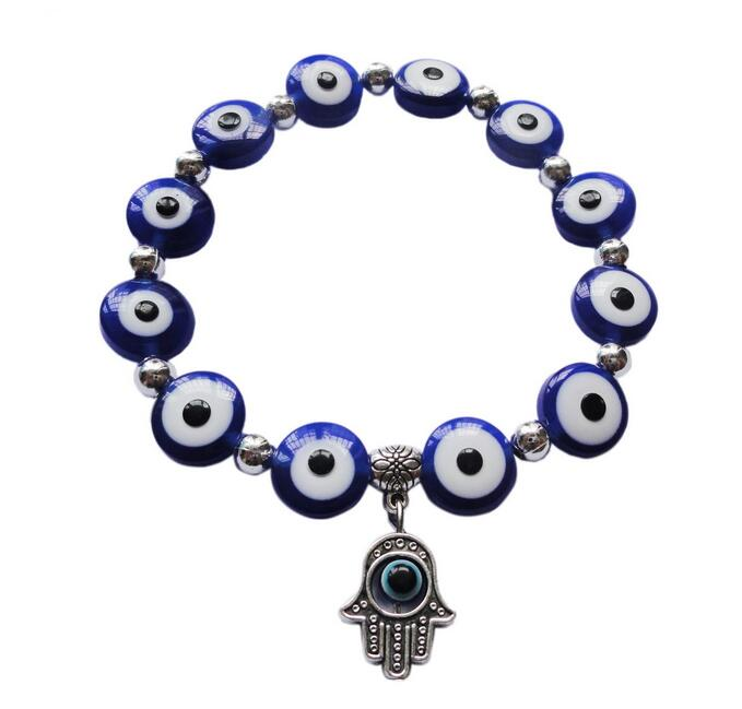 5 Color Resin Evil Eye Beaded Bracelet with Against Evil Eyes Fatima Hamsa Hand Charms Lucky Bangle Wristband Protection Jewelry