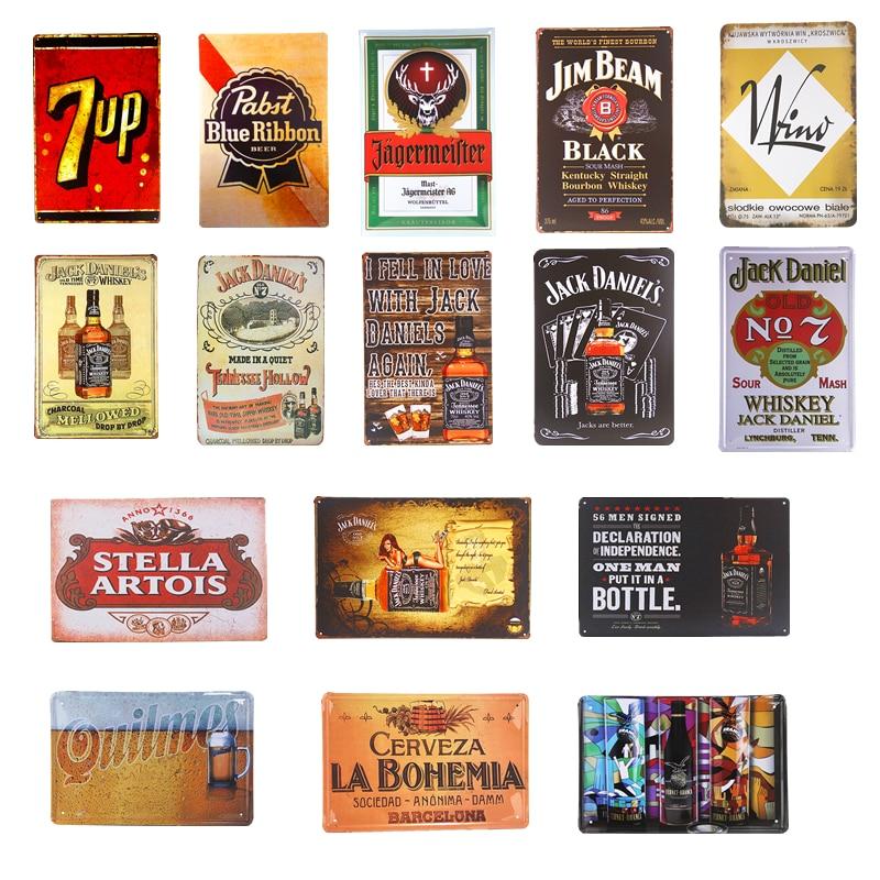 7 up Stella Artois Beer Poster Metal Tin Signs Bar Pub Cafe Decoration Art Plaque Retro Tavern Home Wall Decor