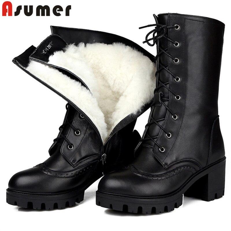 Botas de mujer botas de cuero con cordones mantener caliente