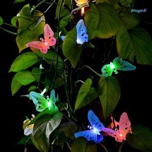 12 светодиодных солнечных батареях Бабочка волоконно-оптическая сказочная гирлянда наружные садовые Огни США