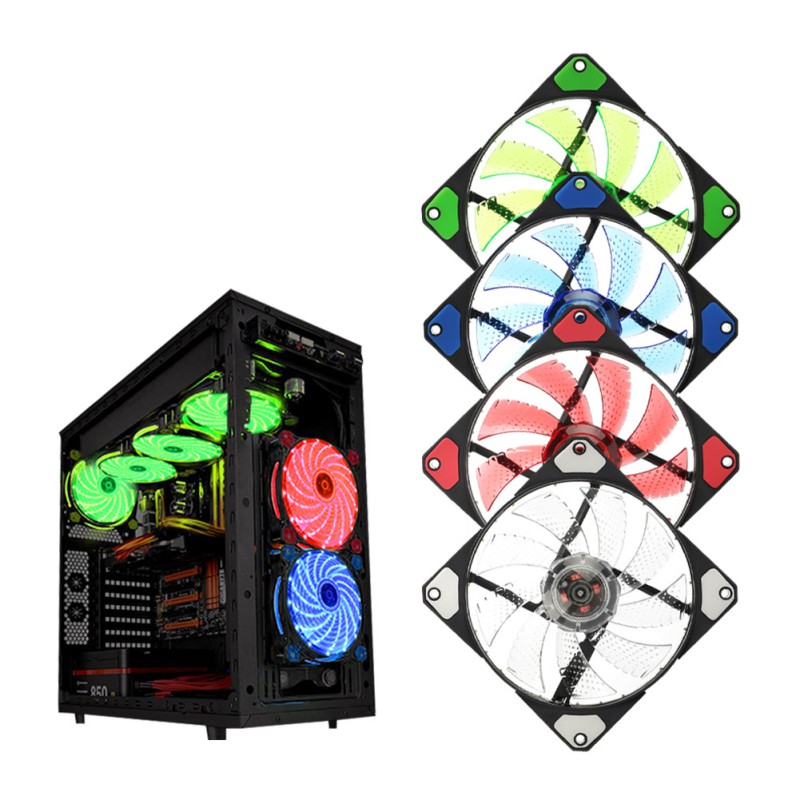 15 LED Light Quite 120mm DC 12V 4Pin PC Computer Case Cooling Cool Fan Mod 75mmx30mm dc 12v 0 24a 2 pin computer pc sleeve bearing blower cooling fan 7530 r179t drop shipping